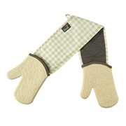 Zeal Silicone Double Oven Glove Gingham Cream (V116C)